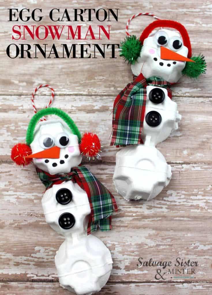 Egg Carton Snowman Ornament
