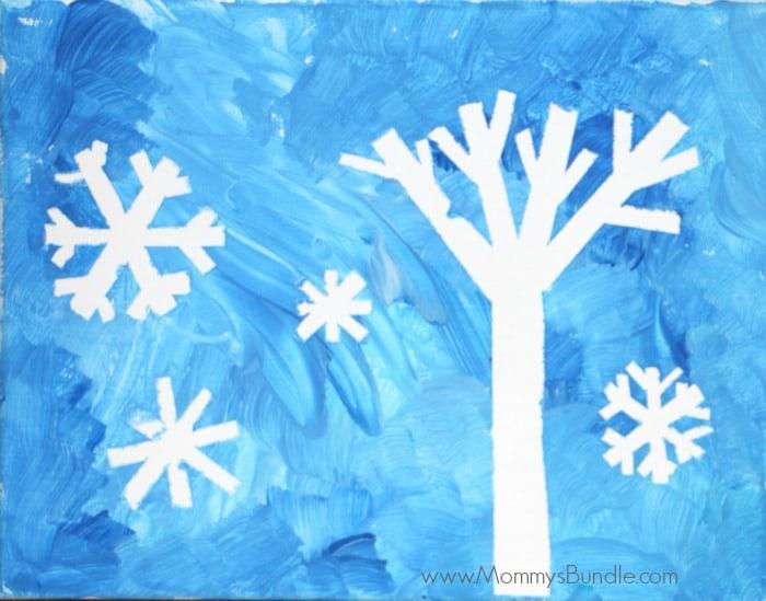 Winter Art: Tape-Resist Snowflake Painting