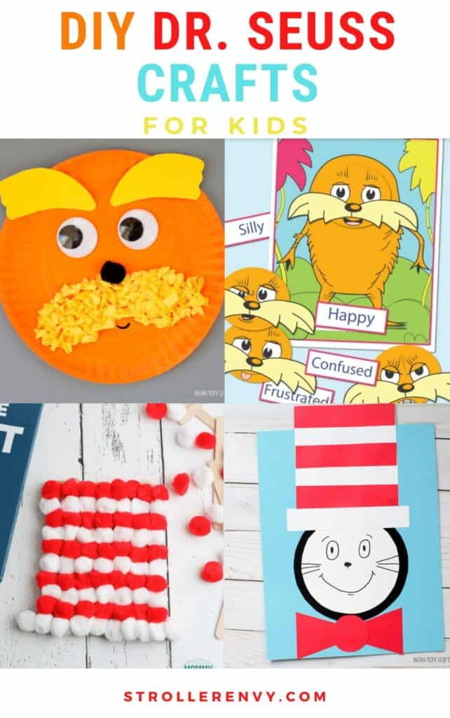 dr seuss crafts for kids collage of four