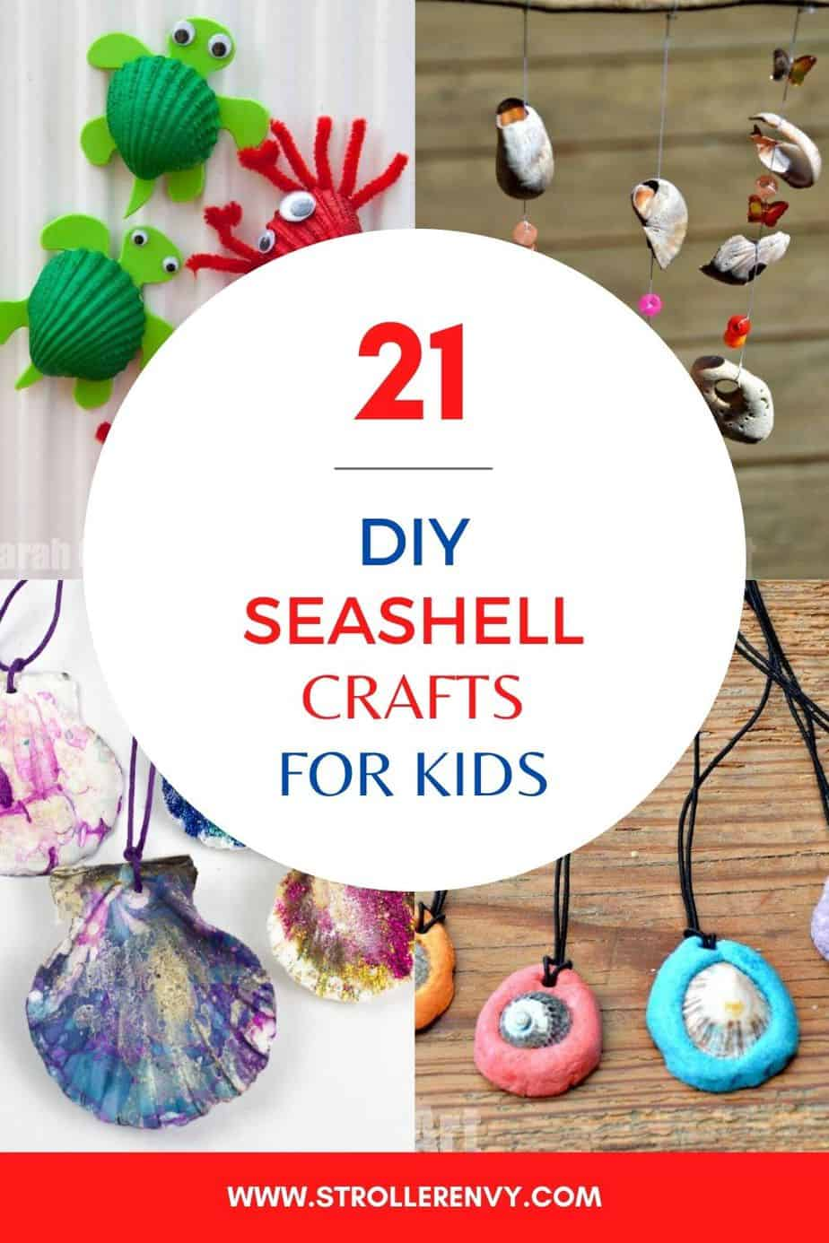 diy seashell crafts for kids pin image with text overlay