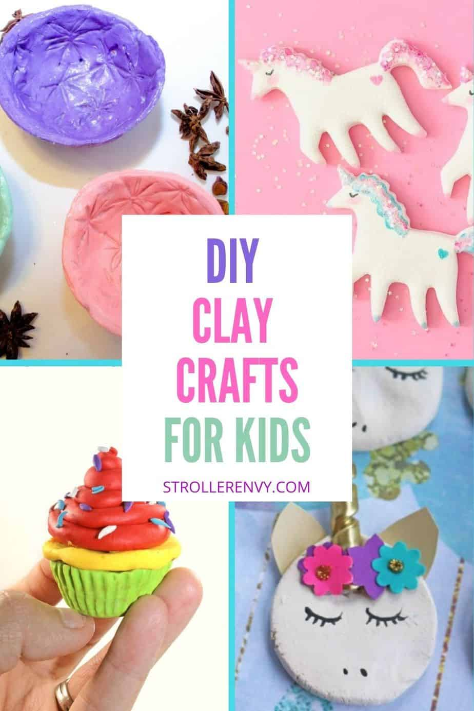 clay crafts collage with text overlay