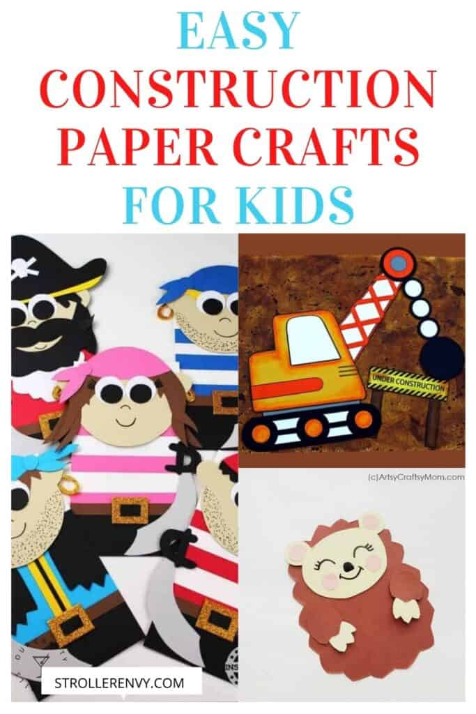 DIY Construction Paper Kids Crafts with text overlay pin image