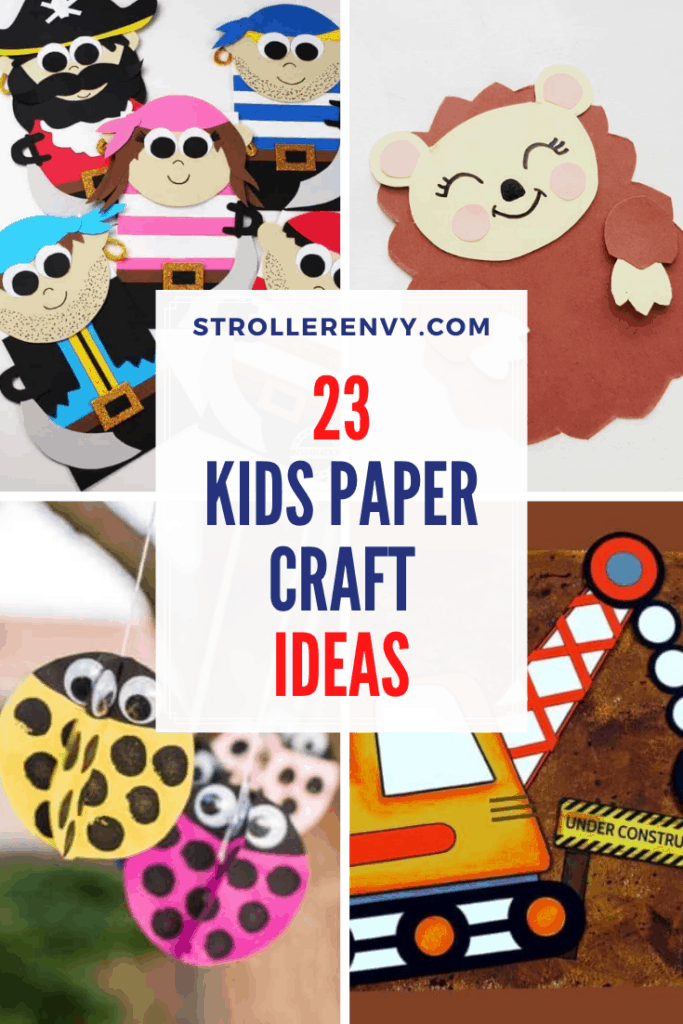 DIY Construction Paper Kids Crafts with text overlay