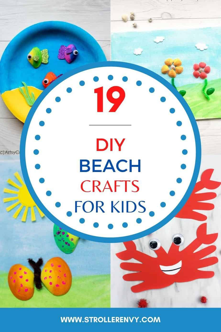beach crafts for kids pin image