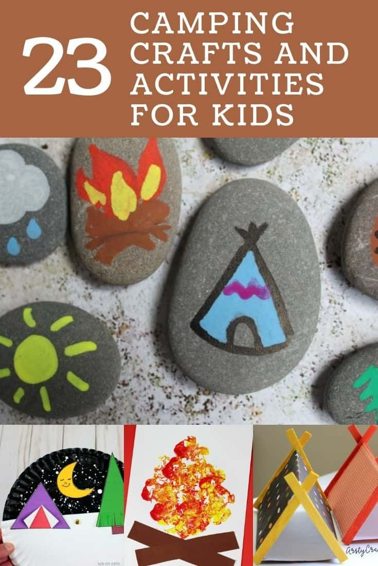 camping crafts for kids pin image