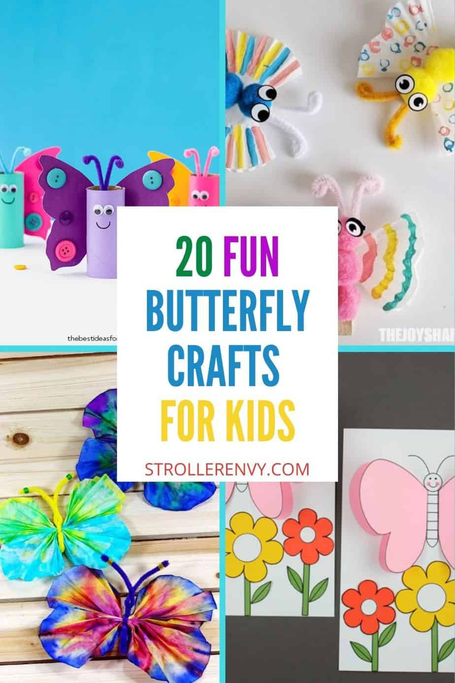 butterfly crafts for kids pin collage